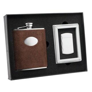 Visol Cowboy Brown Leather Flask and Visol Cowboy Fireball Silver Cigarette Lighter Set