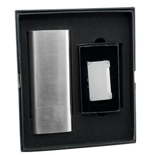 Visol Toledo Cigar Case/Flask and Visol Zidane Brushed Silver Torch Flame Lighter Set