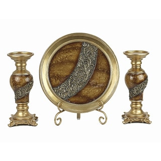 D'Lusso Designs Monique Collection Four Piece Charger with Stand and Two Candlestick Set