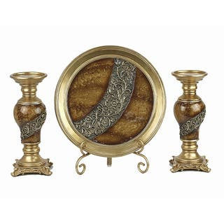 D'Lusso Designs Monique Collection Four Piece Charger with Stand and Two Candlestick Set|https://ak1.ostkcdn.com/images/products/10814429/P17859391.jpg?impolicy=medium