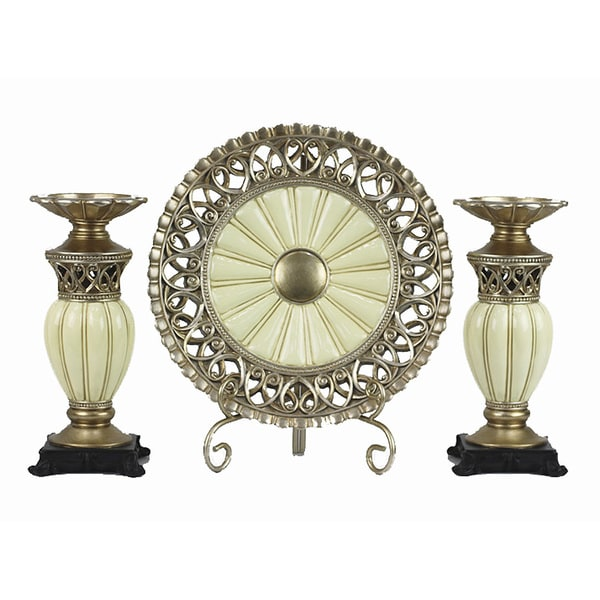 4c83d55096 Shop D'Lusso Designs Juliana Collection Gold/Ivory Polyresin 4-piece  Charger with Stand and 2 Candlesticks Set - Free Shipping Today - Overstock  - 10814433
