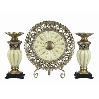 D'Lusso Designs Juliana Collection Four Piece Charger with Stand and Two Candlestick Set