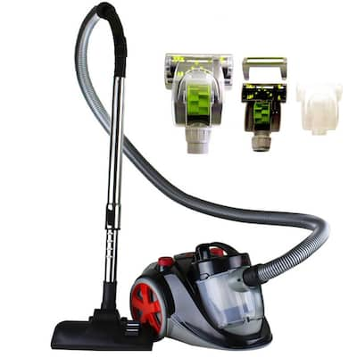 Ovente Electric Canister Vacuum with Sofa Pet Brush, Black ST2010