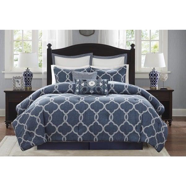 Harbor House Freya Cotton Blue 4-piece Comforter Set