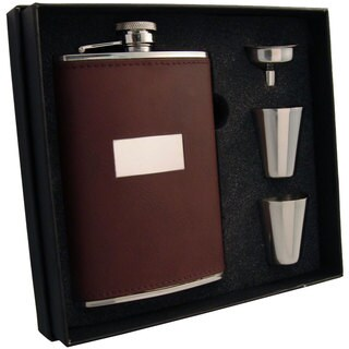 Visol Alcide Brown Leather Supreme II Flask Gift Set - 8 ounces