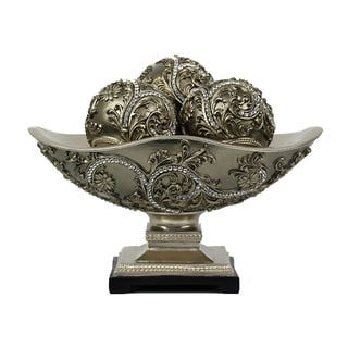 D'Lusso Designs Alana Collection Four Piece Bowl with Three Orbs Set