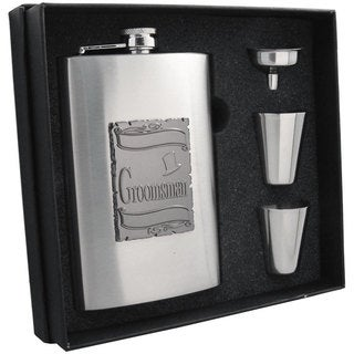 Visol Celebrate Embossed Stainless Steel Supreme II Flask Gift Set - 8 ounces