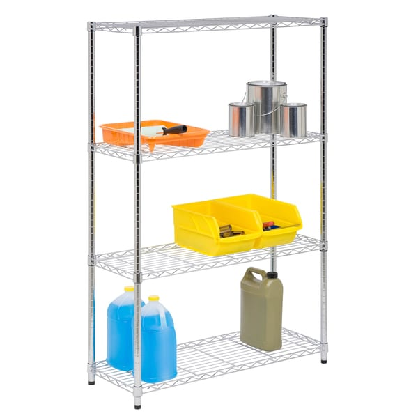 4 tier shelving unit 350lb chrome free shipping today. Black Bedroom Furniture Sets. Home Design Ideas