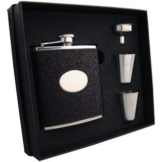 Visol Stardust Deux Black Glitter Supreme Flask Gift Set - 6 ounces