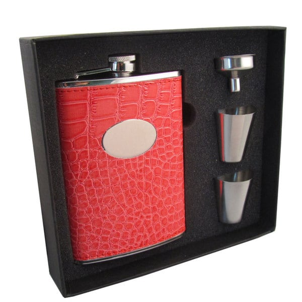 Visol Sweety Coral Crocodile Pattern Supreme II Flask Gift Set - 8 ounces