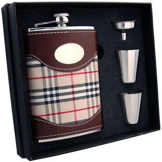 Visol Henry Plaid Wrap Supreme II Flask Gift Set - 8 ounces