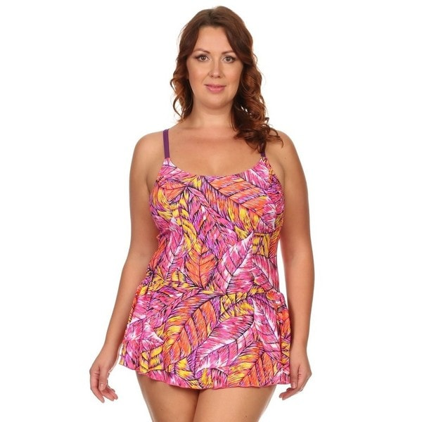 42b5b94f612 Shop Plus Size Pink Feathers One Piece Swimdress - Free Shipping On Orders  Over $45 - Overstock - 10814544