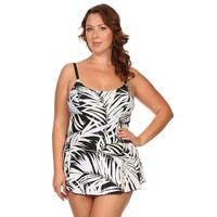 Plus Size White Leaves One Piece Swimdress