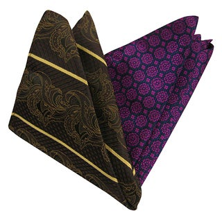 Dmitry Men's Italian Silk Multicolor Print Pocket Squares (Pack of 2)