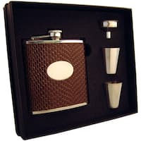 Visol Turus Dark Brown Lizard Print Supreme Flask Gift Set - 6 ounces