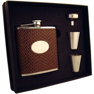 Visol Turus Dark Brown Lizard Print Supreme Flask Gift Set - 6 ounces