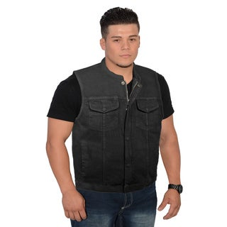 Men's Concealed Snap Hidden Zipper Denim Club Style Vest