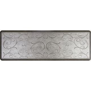 WellnessMats 72 x 24-inch Estates Bella Anti-Fatigue Floor Mat Silver Leaf