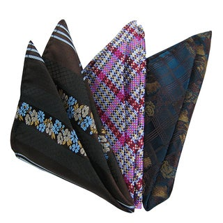 Dmitry Men's Italian Silk Multicolor Print Pocket Squares (Pack of 3)