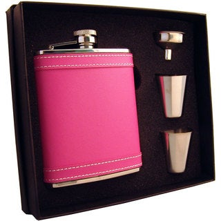 Visol Alexis Hot Pink Leather Supreme Flask Gift Set - 6 ounces