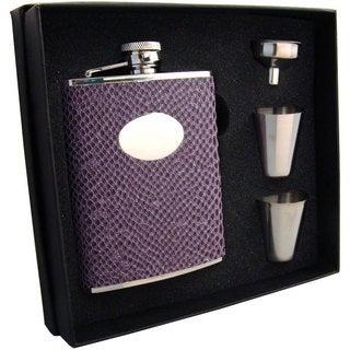 Visol Purple Boa Snakeskin Pattern Supreme Flask Gift Set - 6 ounces
