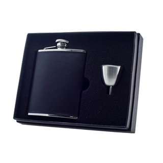 Visol Ano Black Leather Legacy Flask Gift Set - 6 ounce