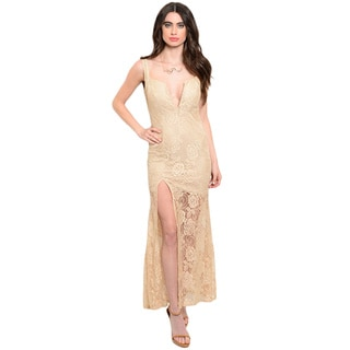 Shop the Trends Women's Sleeveless Lace Maxi Dress With Plunging Neckline And Thigh High Slit