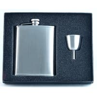 Visol Edge Satin Finish Stainless Steel Legacy Flask Gift Set - 6 ounces