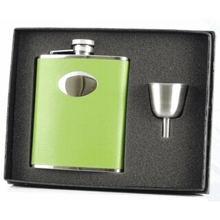 Visol Lily Pad Light Green Leather Legacy Flask Gift Set - 6 ounces