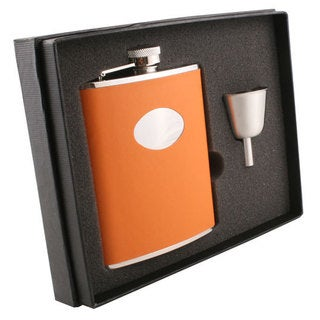 Visol Sunbeam Orange Leather Legacy Flask Gift Set - 6 ounces