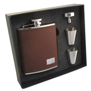 Visol Hunter Dark Brown Leather Supreme Flask Gift Set - 6 ounces