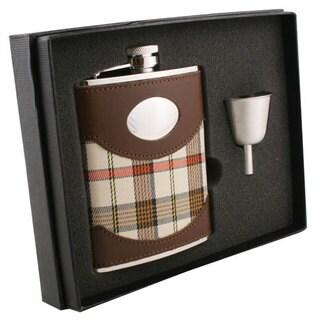 Visol Braw Plaid & Leather Legacy Flask Gift Set - 6 ounces