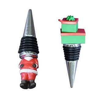 "Rocket Bug ""Santa Claus and Gift"" Wine Stopper Set"