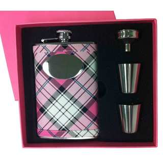 Visol Valor Pink Plaid Sassy Flask Gift Set - 8 ounces
