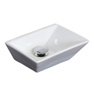 12-in. W x 9-in. D Above Counter Rectangle Vessel In White Color For Deck Mount Faucet