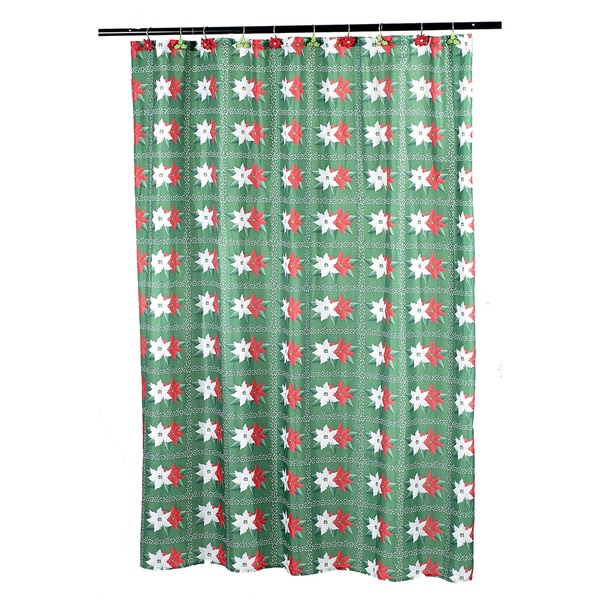 14-piece Christmas Poinsettia Holiday Themed Shower Curtain Set