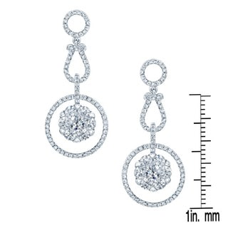 14k White Gold 1 1/2ct TDW Diamond Dangle Earrings (H-I, SI1-SI2)