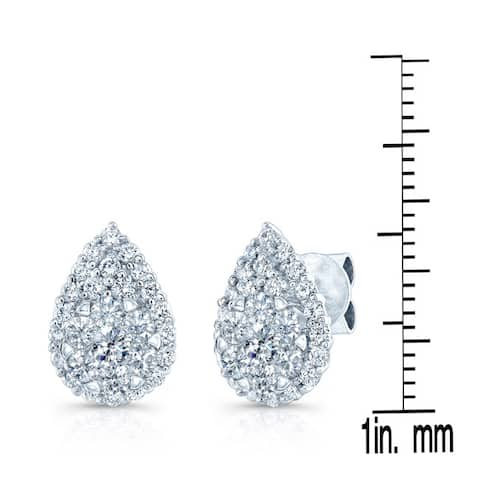 14k White Gold 1 1/2ct TDW Pear Stud Diamond Earrings