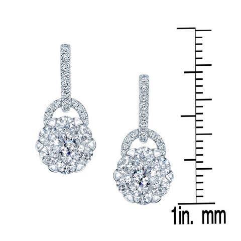 14k White Gold 1 1/4ct TDW Diamond Drop Earrings