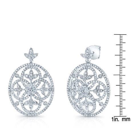 14k White Gold 1 3/4ct TDW Vintage Inspired Diamond Earrings