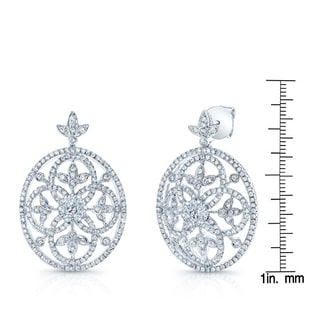 14k White Gold 1 3/4ct TDW Vintage Inspired Diamond Earrings (H-I, SI1-SI2)