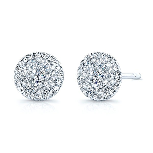 14k White Gold 1/3ct TDW Halo Diamond Stud Earrings