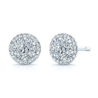 14k White Gold 1/3ct TDW Halo Diamond Stud Earrings (H-I, SI1-SI2)