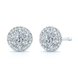 14k White Gold 1/3ct TDW Halo Diamond Stud Earrings