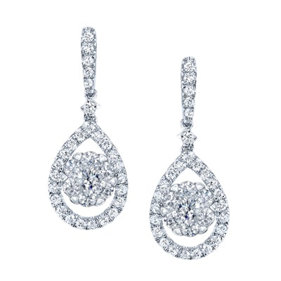 14k White Gold 3 4ct Tdw Diamond Pear Drop Earrings