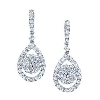 14k White Gold 3/4ct TDW Diamond Pear Drop Earrings