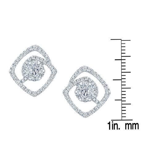 14k White Gold 3/4ct TDW Geometric Diamond Pave Earrings