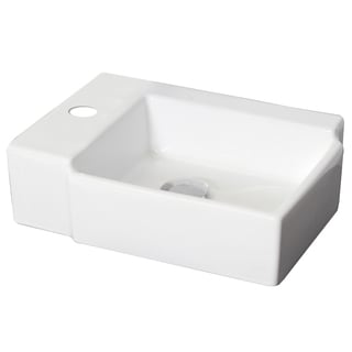 16.25-in. W x 12-in. D Wall Mount Rectangle Vessel In White Color For Single Hole Faucet