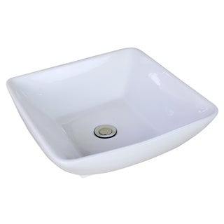 16.54-in. W x 16.54-in. D Above Counter Square Vessel In White Color For Deck Mount Faucet