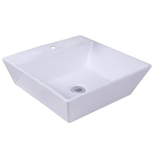 16.93-in. W x 16.93-in. D Above Counter Square Vessel In White Color For Single Hole Faucet